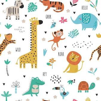 Бесшовный фон с тропическими животными