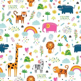 Бесшовный фон с тропическими животными.