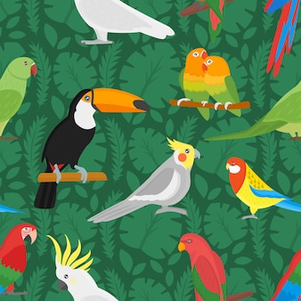 Seamless pattern with tropical bird toucan and multicolor parrot exotic flower and palm leaf.