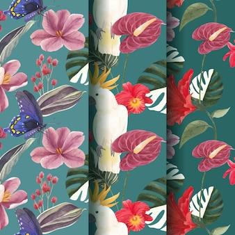 熱帯植物学の概念、水彩風のシームレスなパターン