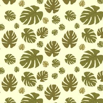 Бесшовные модели с тропическими экзотическими зелеными листьями монстеры