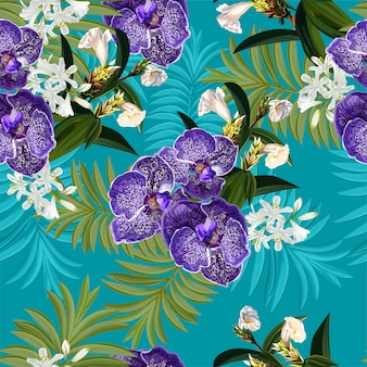 Seamless pattern with tropical flower