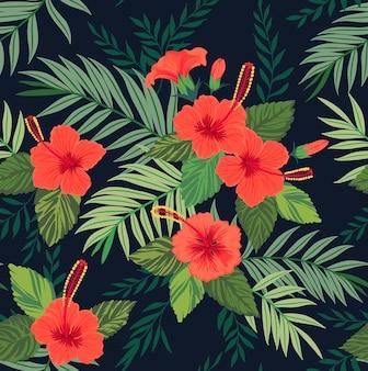熱帯の花と葉とのシームレスなパターン。ハイビスカスの花。明るいジャングルパターン。