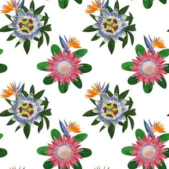 熱帯の花と葉のシームレスなパターンテキスタイルプリントの熱帯の花の壁紙