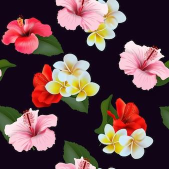 열 대 꽃으로 완벽 한 패턴입니다. 여름 열 대 배경 벡터 배경입니다.