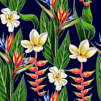 Seamless pattern with tropical flowers