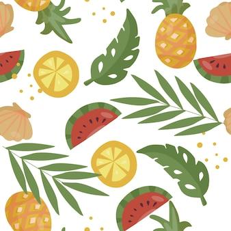 Бесшовный фон с тропическими фруктами и пальмовыми листьями
