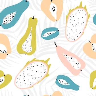 Seamless pattern with tropical fruits on the background of palm leaves dypsis. modern illustration in pastel colors.