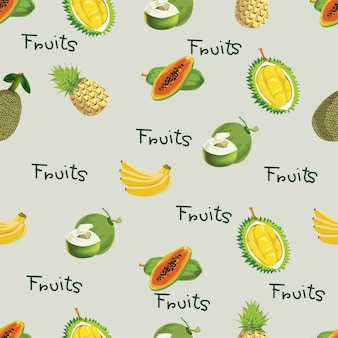 Seamless pattern with tropical fruits