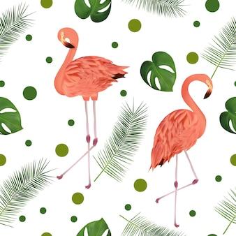熱帯の葉とフラミンゴとのシームレスなパターン