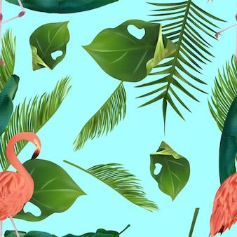 열 대 잎과 플라밍고와 완벽 한 패턴
