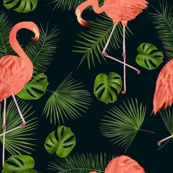 열 대 잎과 핑크 플라밍고와 완벽 한 패턴