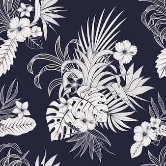 열 대 잎과 꽃으로 완벽 한 패턴