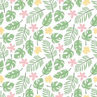熱帯の葉と花とのシームレスなパターン