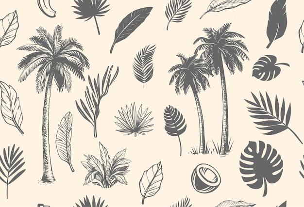 Бесшовный фон с тропическими листьями и пальмами.