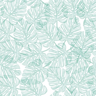 Seamless pattern with tropical leaves on black background
