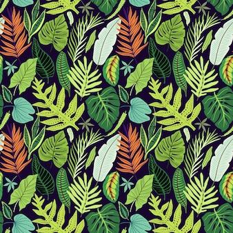 Бесшовный фон с тропическими листьями. яркий образец джунглей с пальмовыми листьями и экзотическими растениями.