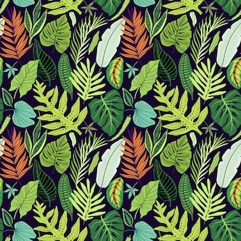 Seamless pattern with tropical leaves.  bright jungle pattern with palm leaves and exotic plant.