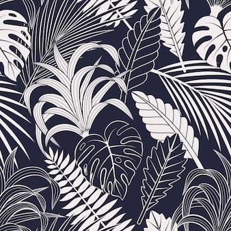 Бесшовный фон с тропическими листьями. элегантный темно-синий и белый экзотический фон.