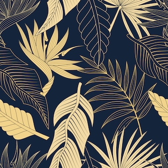 Seamless pattern with tropical leaves. elegant dark blue and gold exotic background.