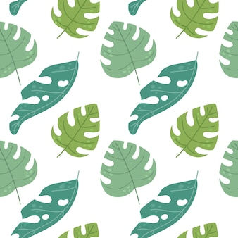 Seamless pattern with tropical leaves in flat style vector illustration