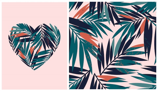 Seamless pattern with tropical leaves and heart on pink background