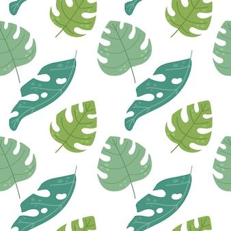 フラットスタイルの熱帯の葉とのシームレスなパターンベクトル図