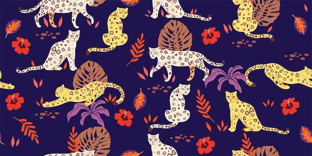 Seamless pattern with tropical leaves and leopards.  graphics Premium Vector