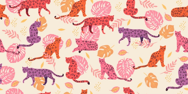 Seamless pattern with tropical leaves and leopards.