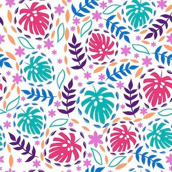 白い背景に熱帯の葉のシームレスなパターン。