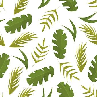 白い背景のベクトルに熱帯の葉とのシームレスなパターン