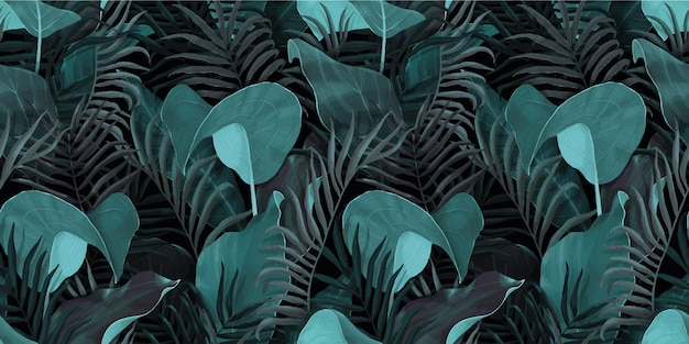 Seamless pattern with tropical leaves palm, colocasia, banana