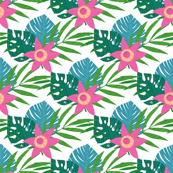 Seamless pattern with tropical leaves on white background