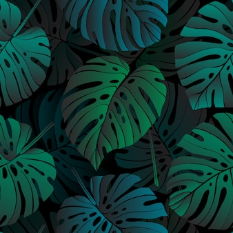 Seamless pattern with tropical monstera plant leaves.