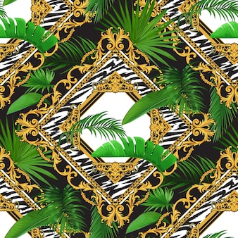 Seamless pattern with tropical motif and golden baroque scrolls