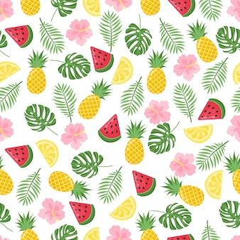 熱帯のヤシの葉とバナナとのシームレスなパターン。ベクトルイラスト。