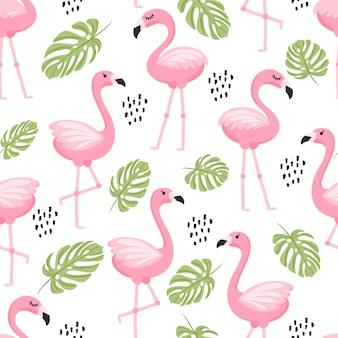 Бесшовный фон с тропическими пальмовыми листьями и фламинго. векторная иллюстрация.