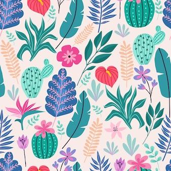 Бесшовный фон с тропическими пальмовыми листьями и цветами. векторная иллюстрация.