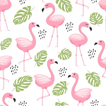 Seamless pattern with tropical palm leaves and flamingo. vector illustration.
