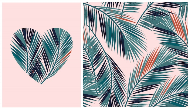 Seamless pattern with tropical palm trees and heart shaped