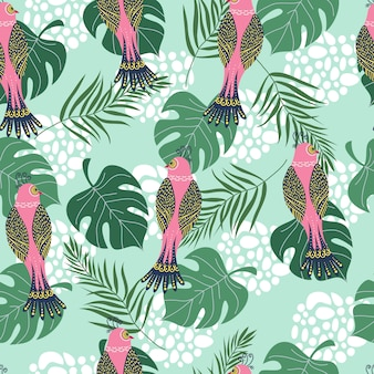 Seamless pattern with tropical pink birds and flowers