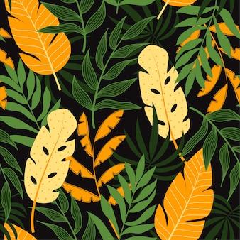 Бесшовный фон с тропическими растениями и листьями