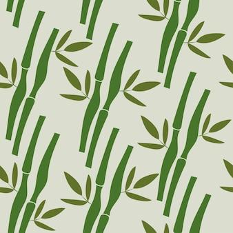 熱帯植物の竹と葉とのシームレスなパターン。ベクトル自然イラスト