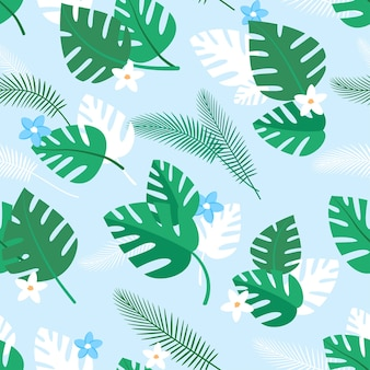 Seamless pattern with tropical plants and blue and white flowers summer background with green palm