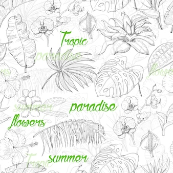 Seamless pattern with tropical plants and flowers