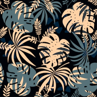 Seamless pattern with tropical plants and leaves