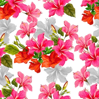 Seamless pattern with tropicall flower vector illustration