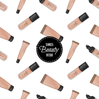 Seamless pattern with tubes of foundation and concealers. cartoon style.