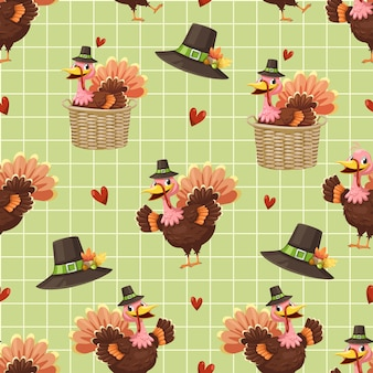 Seamless pattern with turkey, hat, basket and heart