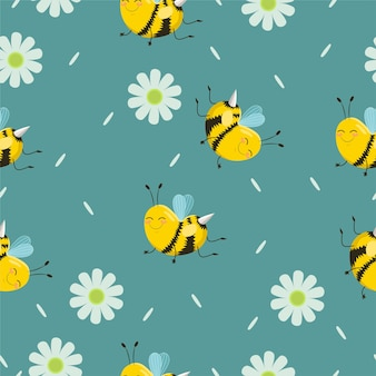 Seamless pattern with turquoise bees with flowers and petals.